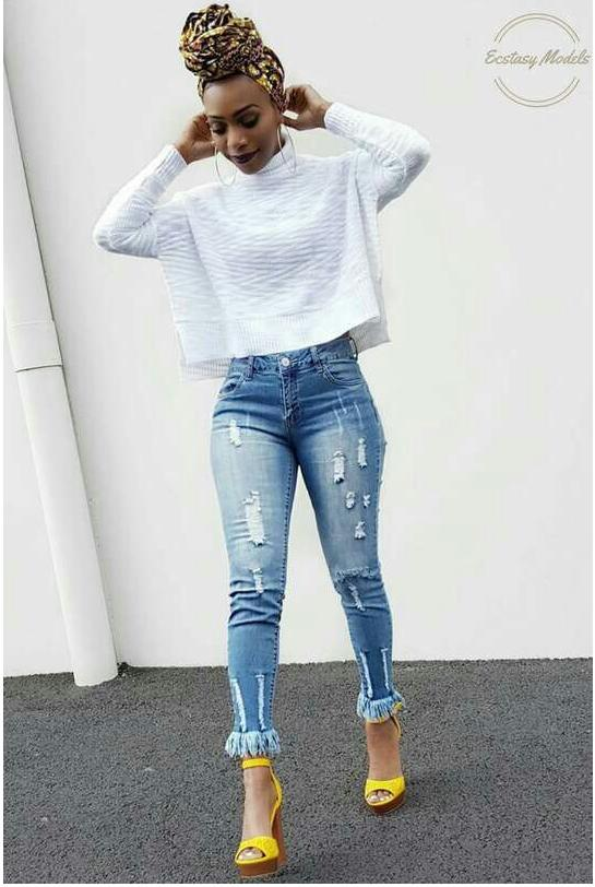 Nouveau 2018 Femmes Skinny Jeans Cut Fringe Fringe Slim Crayon Loisirs Stretch Tears Flawless Flocon De Neige Jeans