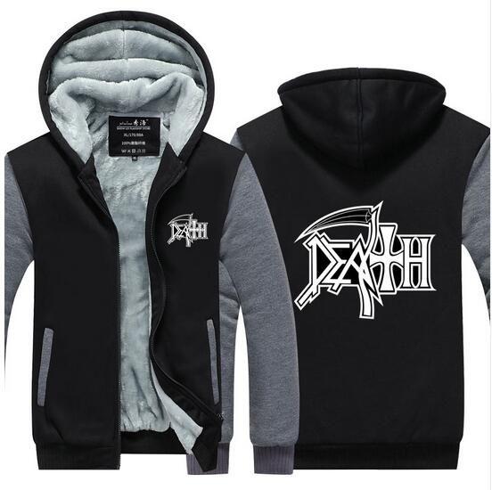 DEATH Classic Logo Herren ROCK BAND HEAVY METAL Winter Sweatshirt Warm Fleece Zipper Strickjacke Mantel Jacke Langarm Trainingsanzug USA EU Größe