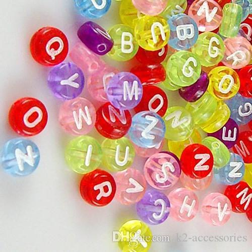 DIY 100pcs Transparent Cubic Mixed Acrylic Letter// Alphabet Spacer Beads 10X10mm