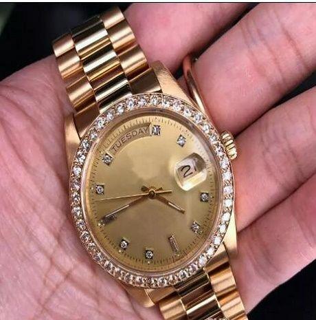 Lüks Saatler adam saatler toptan moda Erkek Sarı Başkan 36 MM 18038 İzle 4.25 Ct ücretsiz kargo