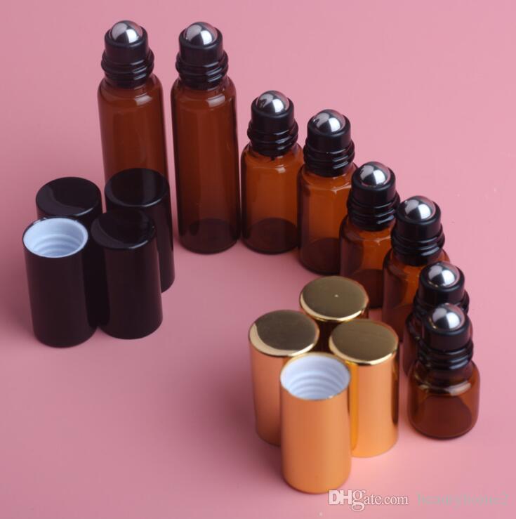 5 pcs 1 ML 2 ML 3 ML 5 ML Ambre Rouleau Sur Rouleau Bouteille Pour Les Huiles Essentielles Rechargeable Bouteille De Parfum Déodorant Conteneurs avec couvercle D'or