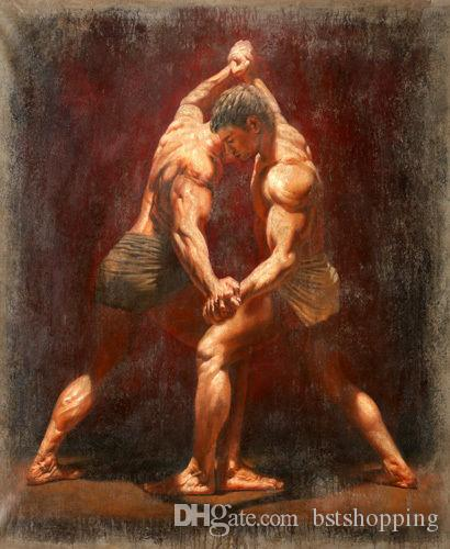 Handpainted & HD Print Portrait Art Oil Painting nudes boys young strong man wrestlers On Canvas Home Decor Wall Art Multi Sizes p313