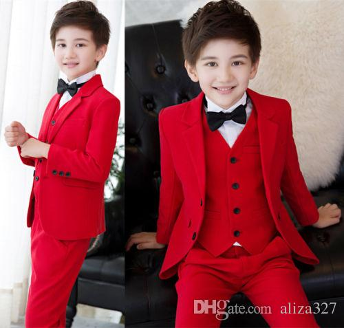 Boy's Formal Wear New Red Boys 3 Piece Suits Kid's Groom Suit Wedding Page Boy Baby Formal Party