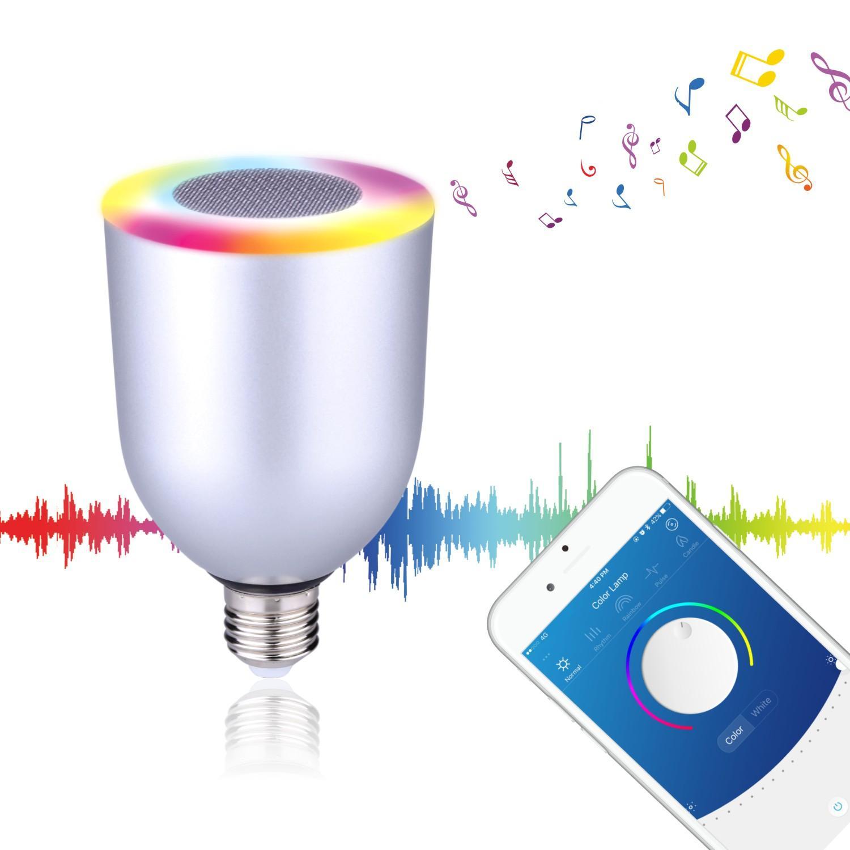 Bluetooth speaker e27 lâmpada led lâmpada colorida para ios android telefone inteligente pc music player lâmpada cores ajustável sem fio por dhl