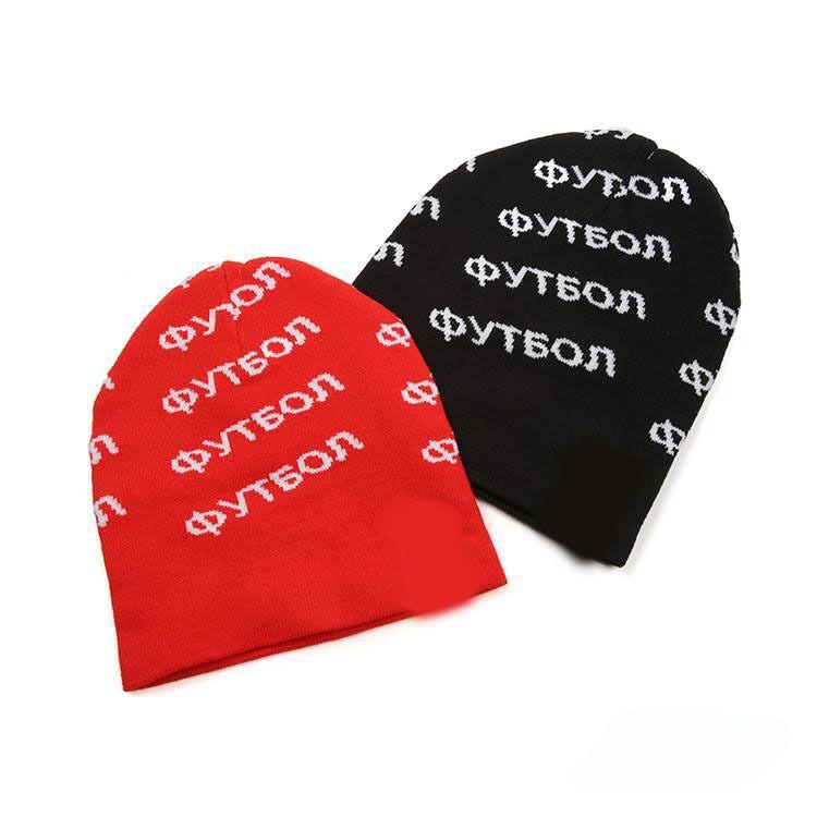 قبعات ماركة جمجمة التريكو للرجال والنساء أنماط شارع العليا للجنسين رسالة Gosha Rubchinskiy الأسود والأحمر زوجين قبعة