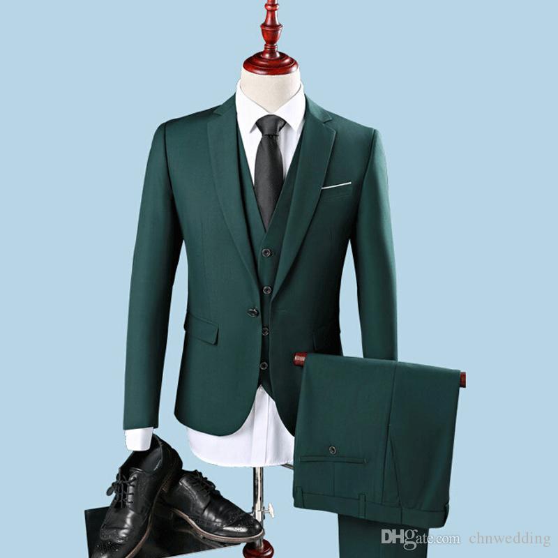Slim Fit Men Garnitury Ślub Groom Tuxedos 3 sztuki (Kurtka + Spodnie + Kamizelka) Green Oblubienica Garnitury Najlepszy człowiek Blazer Bal