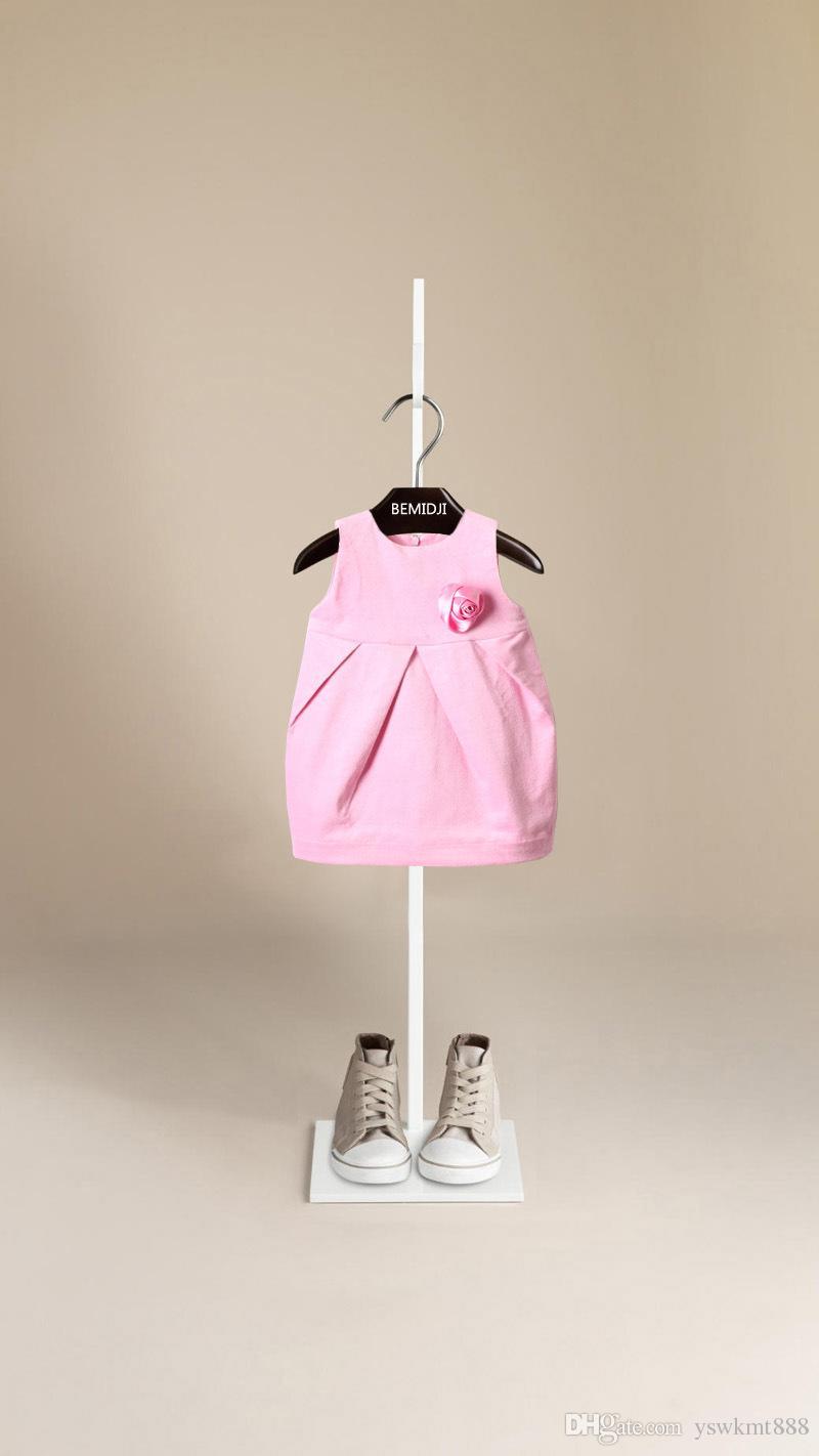 높은 품질 러블리 소녀의 봄, 가을 공주님 드레스 클래식 한 격자 무늬 드레스와 민소매 가슴