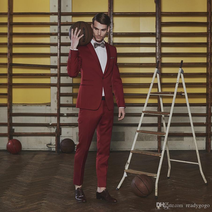 패션 Burgundy Mens 정장 Groomsmen 웨딩 턱시도 2 조각 디자이너 블레이저 숄 옷깃 하나 버튼 정장 복장 정장 (자켓 + 바지)
