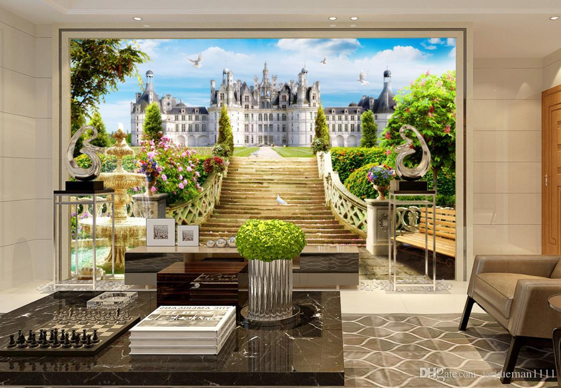 3D Wandpapier customize Garten Schloss Landschaft Tapeten Wohnkultur Wohnzimmer Fernsehhintergrunddekoration 3D Wandbilder