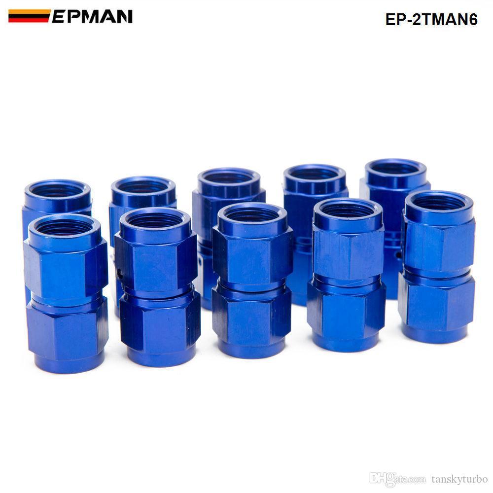 EPMAN - 10PCS/SET Blue AN6 Universal Fuel Oil Fitting Aluminum Hose End Adaptor 2 Side Female Fitting EP-2TMAN6