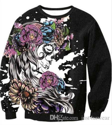Floral Skull Skeleton Print Pullover Hoodie Lovers Loose Casual Long Sleeved Sweater Tshirt Men Women Holloween Costume Sweatshirt