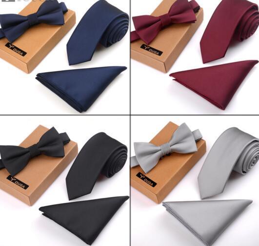 İngiliz trendinin Kore versiyonu Erkekler rahat vahşi iş elbise düğün kravat papyon seti hediye kutusu