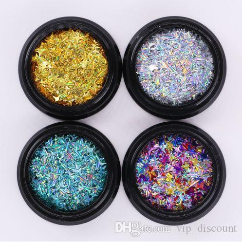 4 Boîtes Holographic Quatre étoiles Angle Nail Set Paillettes Or Argent Laser multi-taille Manucure Nail Art Décorations 3D