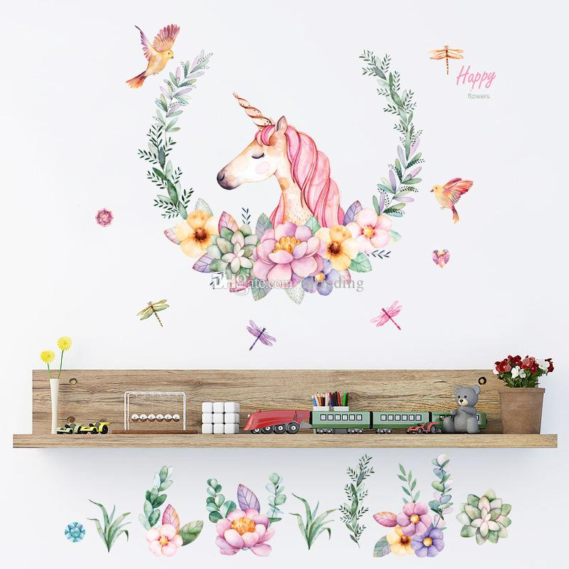 يونيكورن الجدار ملصق لغرفة النوم غرفة الطفل الديكور الكرتون الجدار ملصق pvc ملصقات C5531