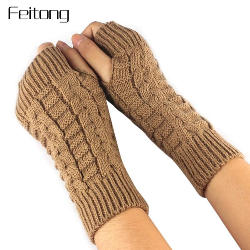 Fashion Knitted Arm Fingerless Gloves Women Unisex Winter Woolen Soft Warm Mittens Women's Fitness Gloves Luvas De Inverno #JO Y18102210