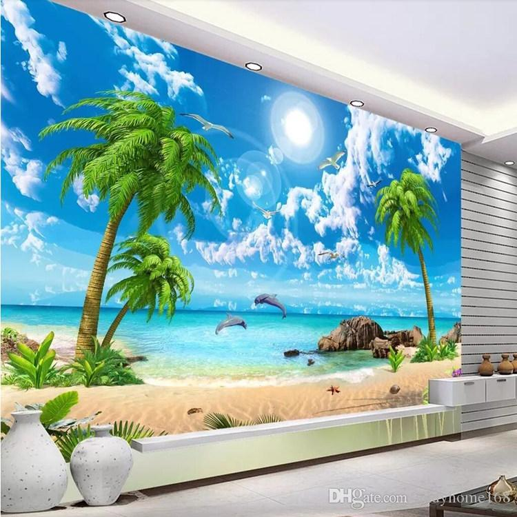3d stereo landscape wallpaper TV background wall paper sea view living room sofa Mediterranean seamless wall covering