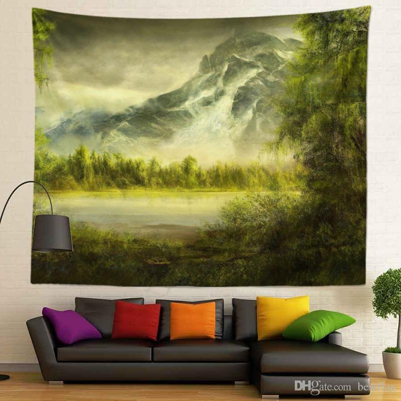 Modern Tasarım Moda Resim Manzara 100% Polyester Süblimasyon Özel Orman Resimleri Ev Dekorasyon için Kumaş Duvar Asılı Goblen