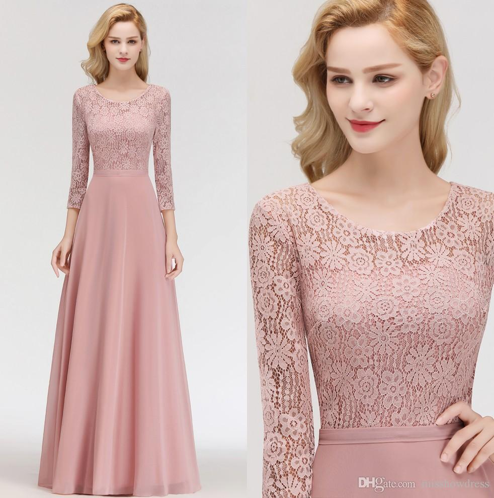 2019 Elegant Long Sleeves Chiffon Bridesmaid Dresses Lace Top Ruched Floor Length Mother Of The Bride Evening Dresses 100% Real Image BM0056