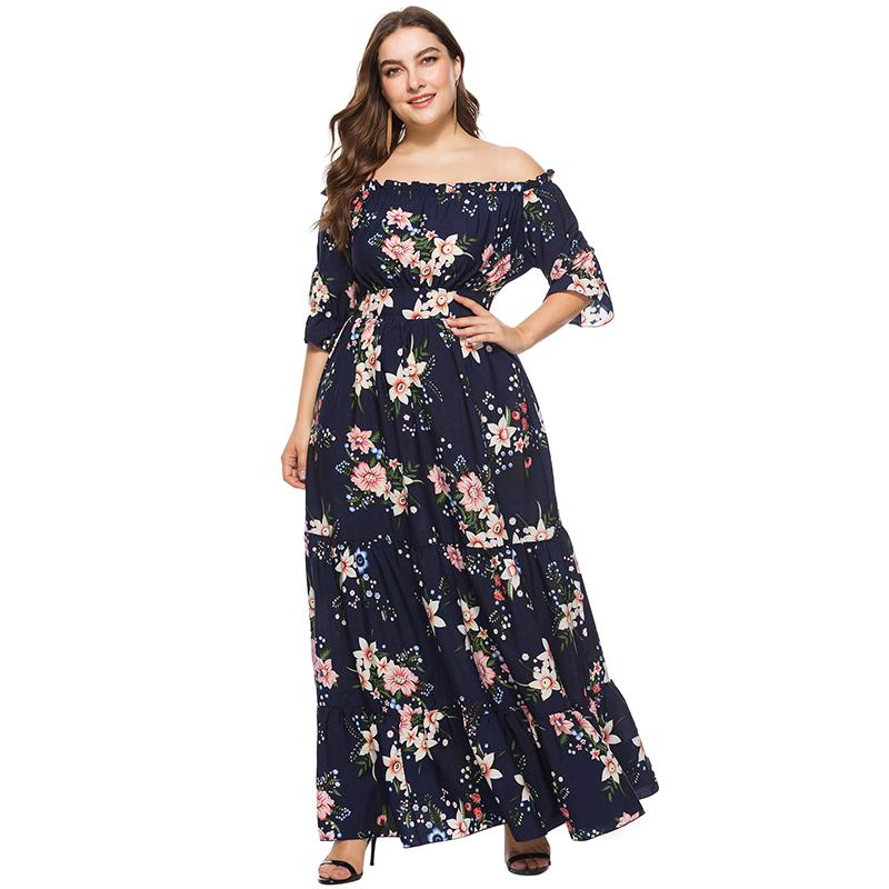 2018 New Women Plus Size Maxi Dress Off The Shoulder Floral Print Dresses  Large Sizes Half Sleeves Elastic Waist Long Boho Dress White Dresses For ...