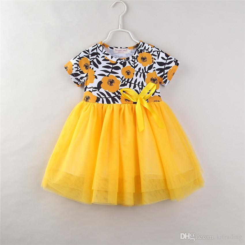 Vestito giallo floreale dalle ragazze per 1-6T fiore stampa bambini nastro bowknot garza splicing abito da principessa manica corta