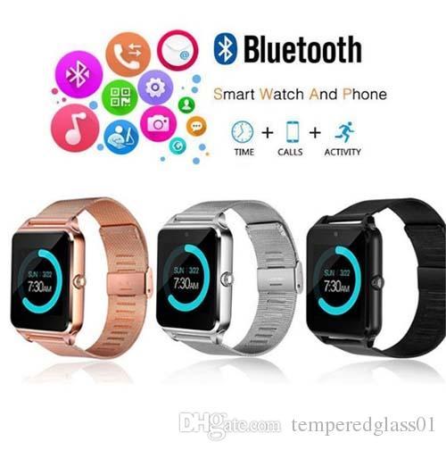 Inteligente reloj Z60 Smartwatches inoxidable relojes inteligentes sin hilos de acero Apoyo TF tarjeta SIM para Android IOS con el paquete