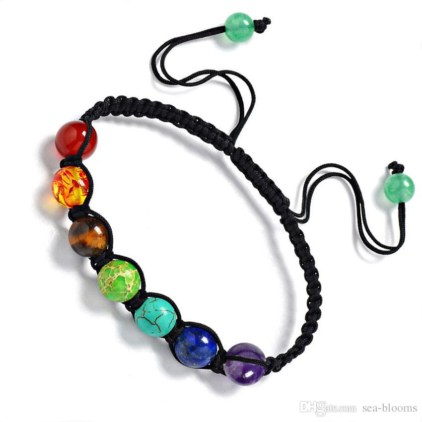 Crystal Gemstone Beads Bracelets 7 Chakra Seven Color Rainbow Natural Stone Hand-woven Bracelet Support FBA Drop Shipping G669S