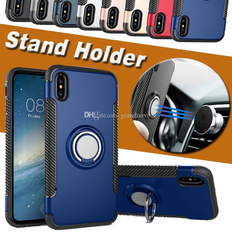 360 Standı Tutucu Manyetik Zırh Kickstand Fonksiyonlu Koruma Kapak Sert Kılıf iPhone 11 Pro Max XS XR X 8 7 6 6S Plus Anti-şok