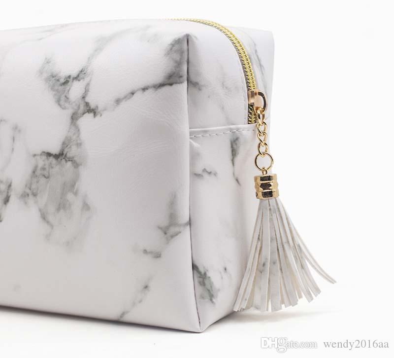 50PCS 2018 Nuova pietra marmorizzata Stampata con cerniera nappa Sacchetto cosmetico bianco borsa da viaggio grande capacità di trucco