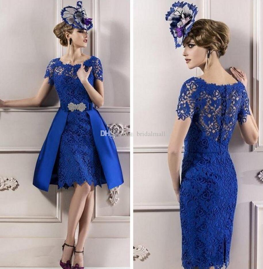Ilusão Neck Azul Mãe Lace de vestidos de noiva 2019 joelho Overskirt Formal Evening vestidos de volta zipper mãe Vestidos Plus Size