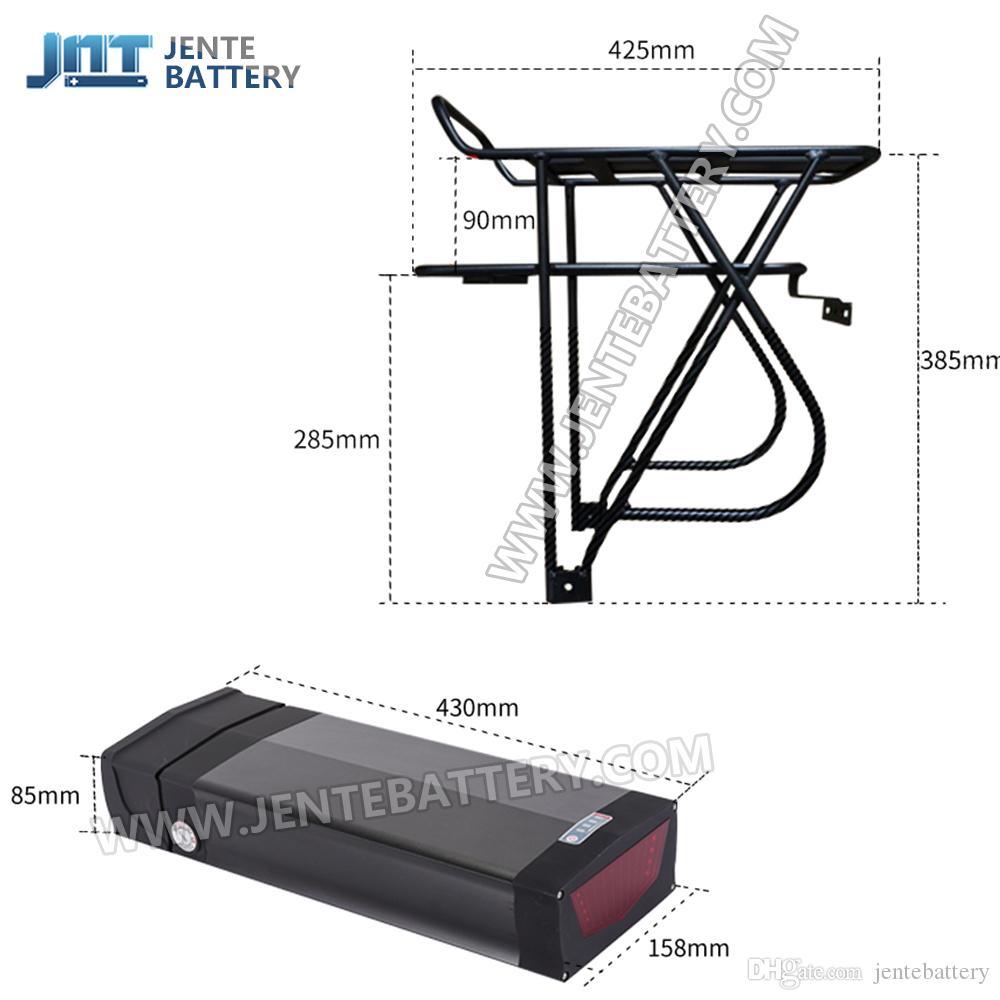 Envío gratis + Batería Colgador trasero 20H 52V batería eléctrica E bicicleta con 5V 1A Socket USB para 1000W / 1500W motor + BMS + 3A Charer