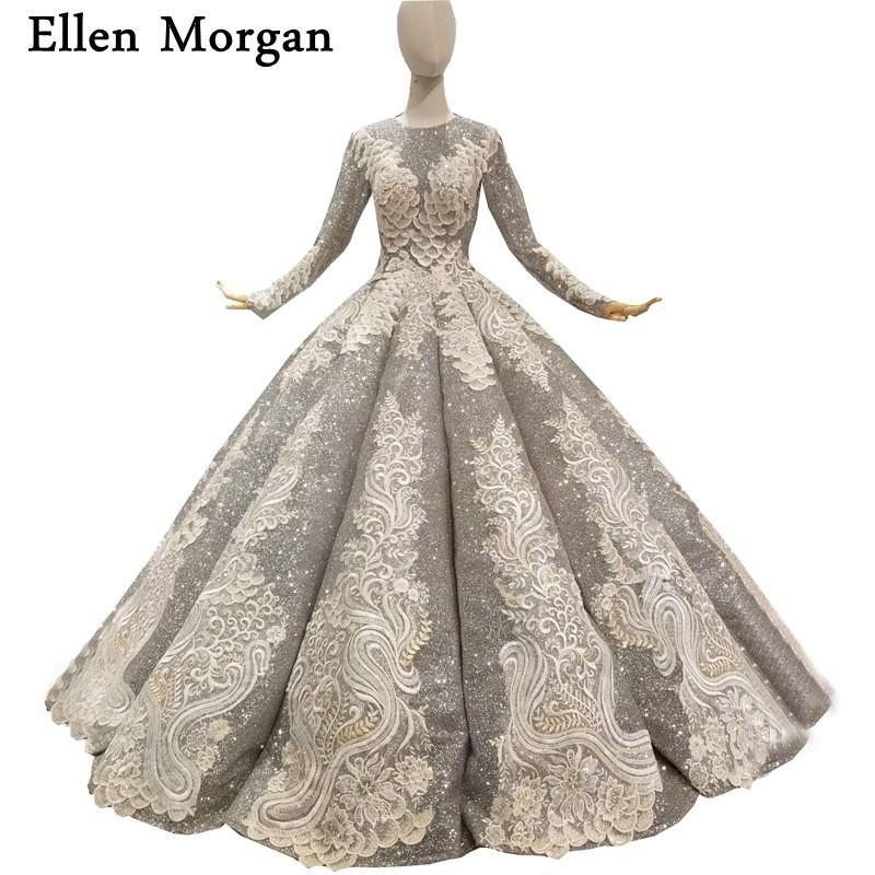 Silver Muslim Long Sleeves Ball Gowns Wedding Dresses 2018 Vestido De Noiva for Women Wear Lace up Floor Length Bridal Gowns