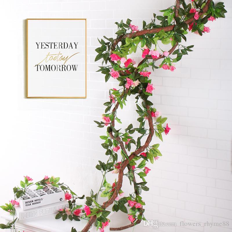 Decoração do casamento de plantas de escalada Simulação New Artificial Falso Silk Rose Flor Vines Pendurado Guirlanda Decoração de Casa de videira Ivy rattan