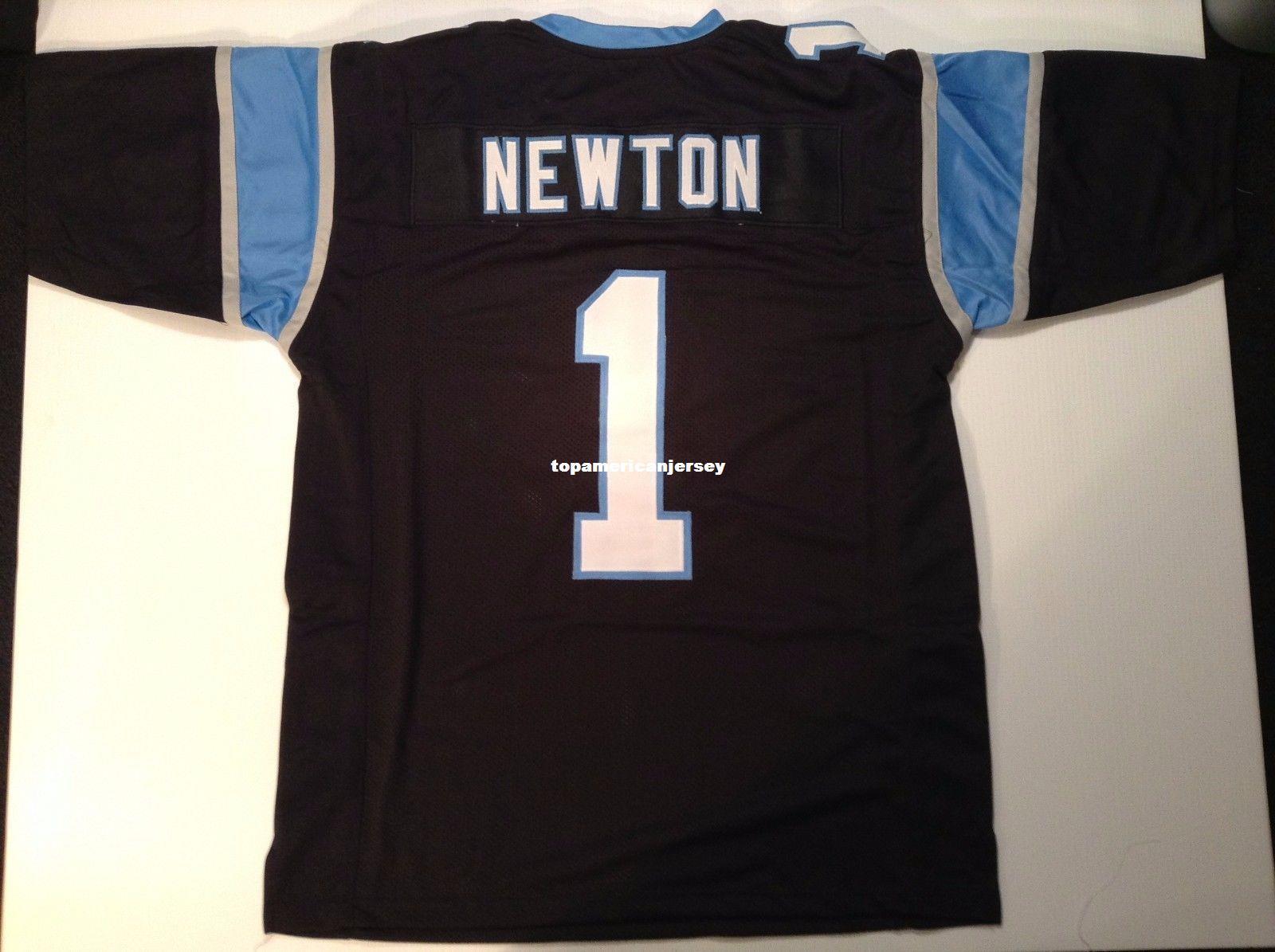 Costume retro Costurado Costurado # 1 Cam Newton Preto MITCHELL NESS Jersey Top S-5XL, 6XL Camisas de Futebol dos homens de Rugby