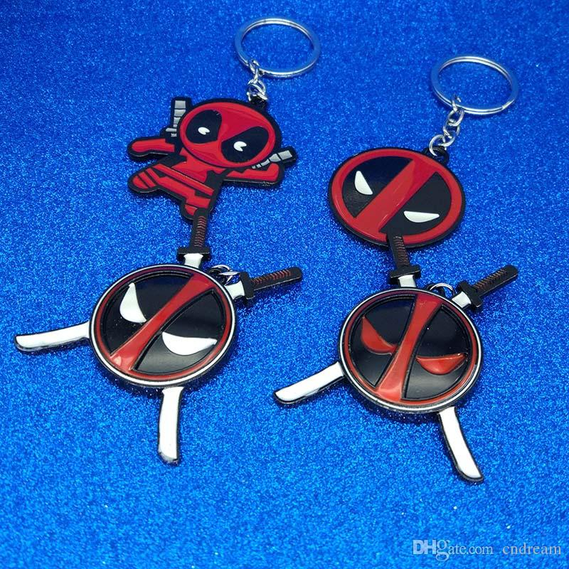 New Metal Super Hero Deadpool Keychain Deadpool Mask Figure Keychain Key Rings Holders Fashion Jewelry Gift Will and Sandy Drop Shipping