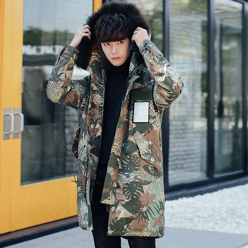 High Quality Mens Overcoats Streetwear Slim Fit Hooded Outwear Jacket Casual Pocket Zipper Male Camo Down Jacket M-3XL