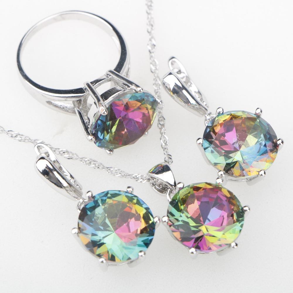 Arcobaleno CZ Stones Argento 925 Set di gioielli da donna Collana con ciondolo Orecchini da donna Collana con ciondoli etiopi