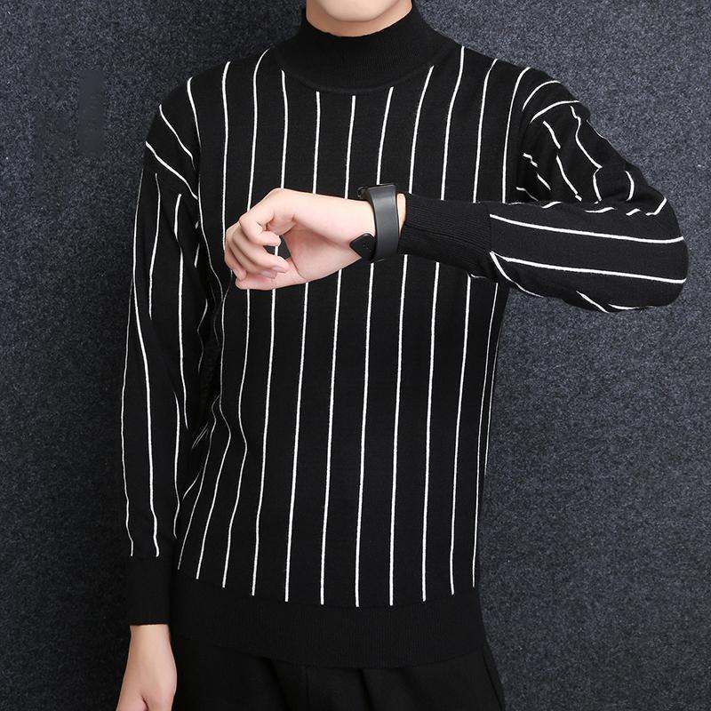 2018 새로운 패션 브랜드 스웨터 남성 스웨터 스트라이프 슬림핏 점퍼 뜨개질 두꺼운 겨울 한국어 스타일 캐주얼 의류 남성