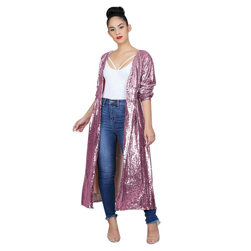 11a9edd4 2019 Long Sleeve Sequin Cardigan Women Autumn Winter 2018 Open Front Party  Sparkly Cardigan Dust Coat Glitter Pink Long Trench Coat From Efashions, ...