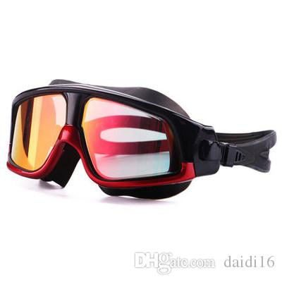 Swimming Goggles Comfortable Silicone Large Frame Swim Glasses Anti-Fog UV Men Women Swim Mask Waterproof