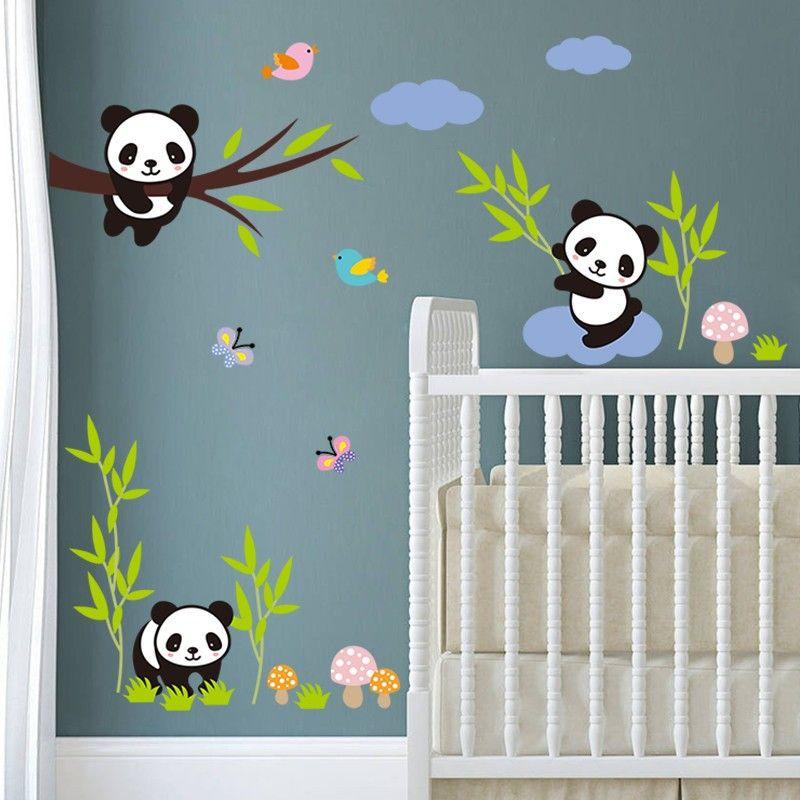 Acheter Gratuit Méchant Pandas Oiseaux Papillon Arbre Stickers Muraux Pour  Enfants Chambre Bébé Cadeau Nursery Décor À La Maison Animaux Stickers ...