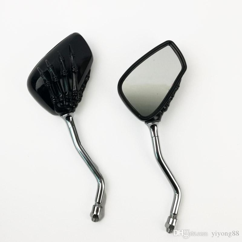 High quality one pair of Universal Motorcycle Chrome SKELETON Skull HAND Claw Side Rear View Mirrors 8mm 10mm P-004