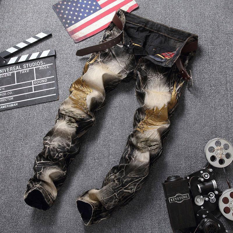 2018 мужские джинсы разорвал байкер отверстие джинсовой Робин патч гарем прямо панк-рок вышивка джинсы для мужчин брюки джинсы со сломанными крыльями высокой