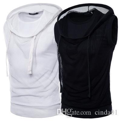 ارتداء الصيف أزياء مش مقنع تي شيرت العضلات الرجال أكمام طاقم الرقبة الهيب هوب الأعلى S-2XL الحجم