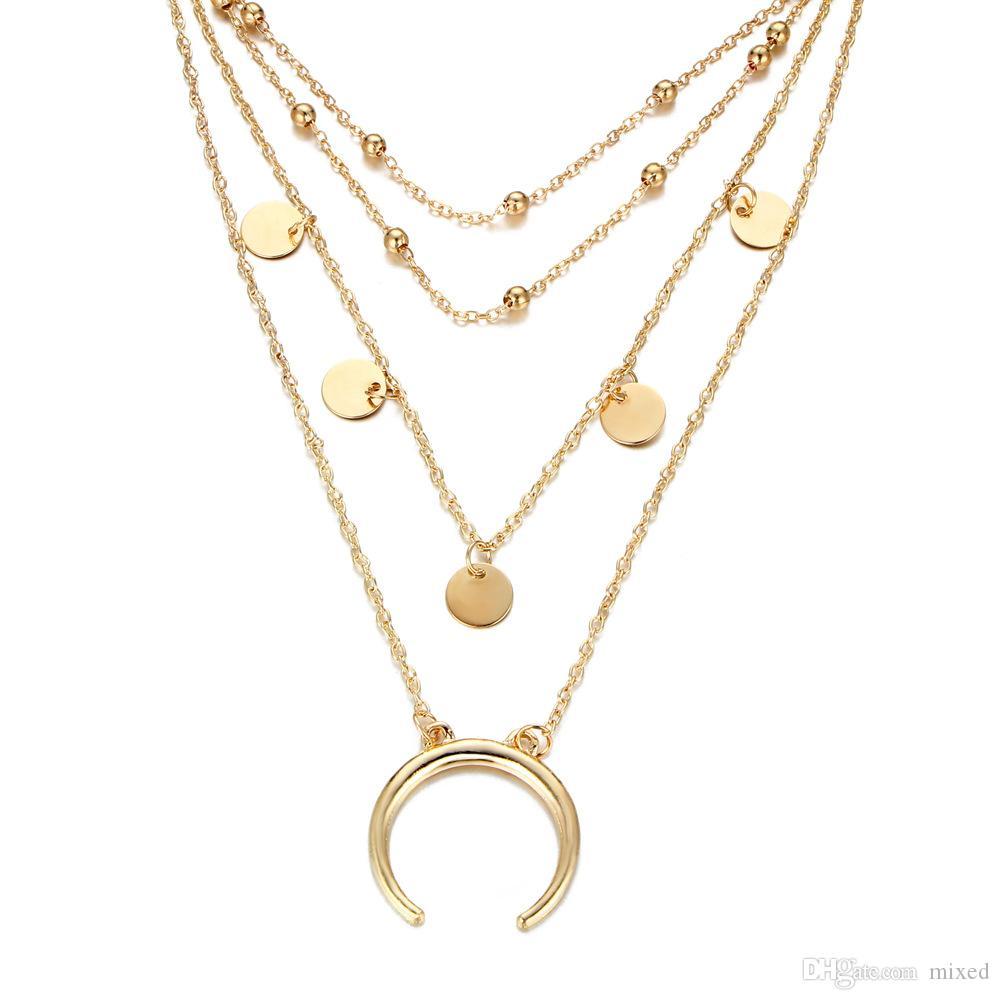 Moon Boho Ювелирные Изделия Многослойные Squin Choker Ожерелья для Женщин Сексуальная Мода Подвеска Винтаж Колье Bijoux