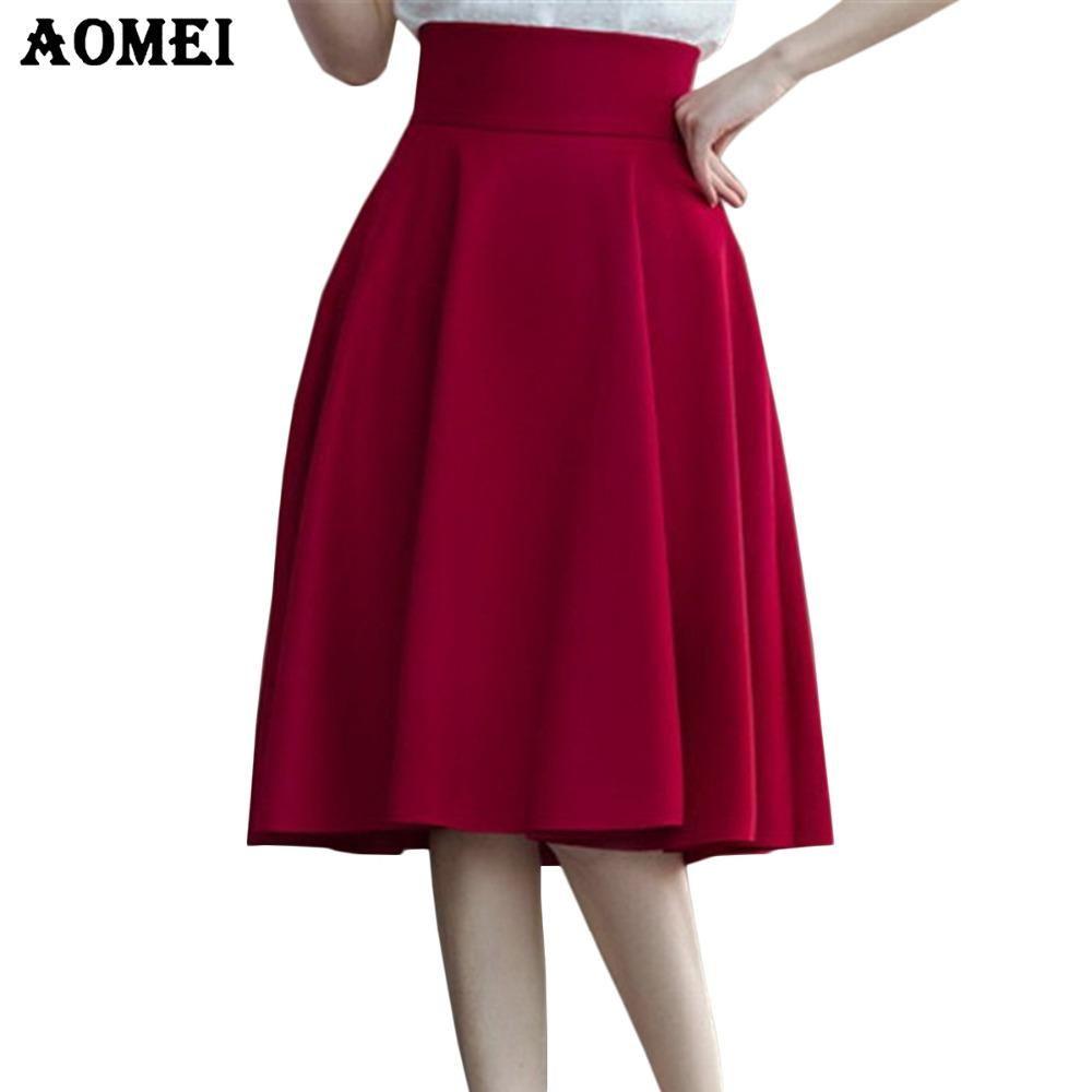 높은 허리 Pleat 우아한 치마 녹색 검정 흰색 무릎 길이 Flared 스커트 패션 여성 Faldas Saia 5XL 플러스 사이즈 숙녀 Jupe