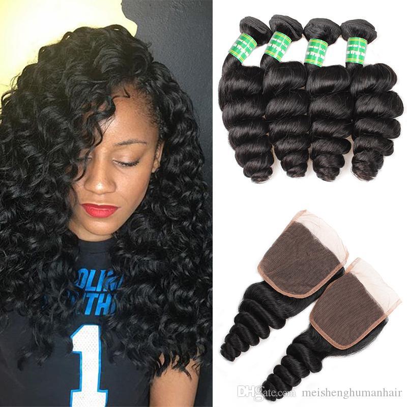 Peru Virgin cabelo solto onda com Encerramento 4 pacotes com fecho 8A peruana Cabelo Humano Pacotes solto Ondas Curly Com Lace Closures Weave