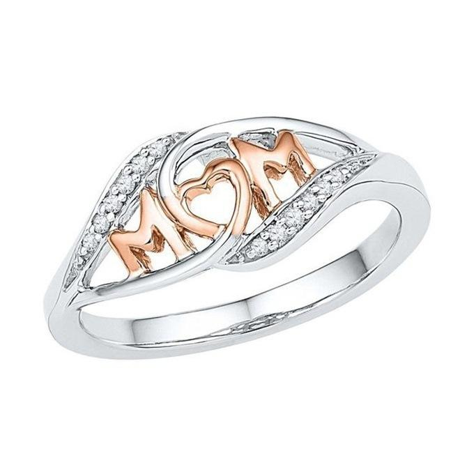 Explosive Mom Rings With Side Stones Mother Gift Letter Rose Gold Ring Christmas Love Jewelry