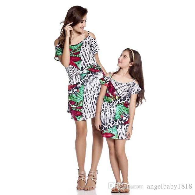 Tropical forests style mother daughter dresses Family Matching Outfits Europe and America mom and daughter matching clothes