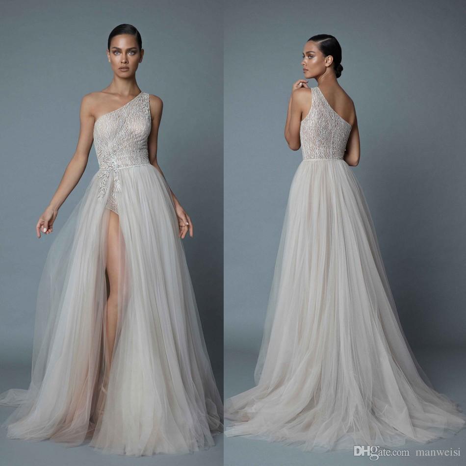 Berta 2019 Um Ombro Praia Vestidos de Casamento Sexy Lace Appliqued Beads A Linha Lateral Dividir Vestidos de Noiva Plus Size vestido de novia