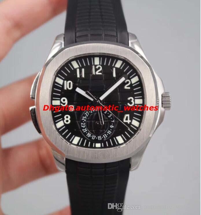 Роскошные 5164A-001 Aquan@ut время в пути двойной часовой пояс из нержавеющей / резиновый браслет автоматические мужские часы Наручные часы новый стиль